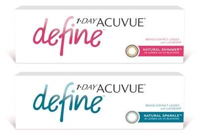 1-Day Acuvue Define Natural Sparkle värvi andvad läätsed kuivadele silmadele